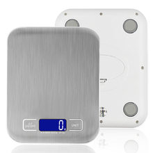 Stainless Steel Digital Kitchen Scale 11 LB / 5000g Cooking Measure Tools Electronic LED Bench Scale Weight lcd display Best 5kg
