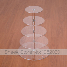 5 Tier Cupcake Stand Top Quality Crystal material Clear Circle Round Stand Wedding Birthday cake display shelf(China)