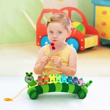 8 Scales Caterpillar Trailer Hand Knock Piano Wooden Educational Toy for Baby Kids Chilrden