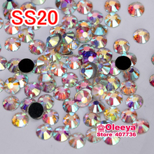 ss20 (4.8-5.0mm) 1440pcs/bag DMC Crystal AB Iron On Rhinestones White AB Hot fix Rhinestones Y0002(China)