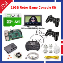 52Pi Raspberry Pi 3 32GB RetroPie Game Kit with Wireless Controller Gamepad Joystick and 10.1 inch 1366*768 LCD Monitor(China)