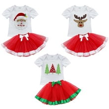 iEFiEL 2Pcs Baby Girls Kids Christmas Cartoon Tops T-Shirt With Bowknot Layers Tutu Dress Outfits Sets Festival Party Costume(China)