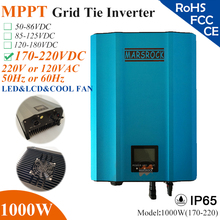 1000W MPPT solar Grid Tie Micro Inverter with IP65,170-220VDC,220V(190-260VAC) or 120V(90-140VAC),LED&LCD for solar panel system(China)