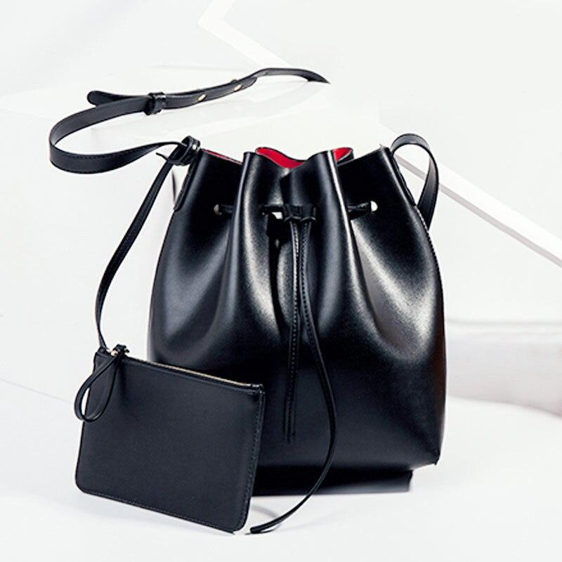 New 2017 Women Designer Handbags Famous Leather Bucket Bag Drawstring Girls Shoulder Bag Crossbody Messenger with Small Pouch<br><br>Aliexpress