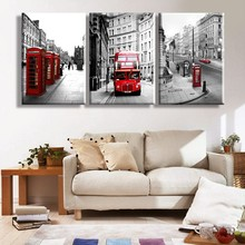 Drop Shipping 3 Panels Canvas Art Wall Art Bus HD Printed Painting London City Painting By Numbers Customized Wall Pictures