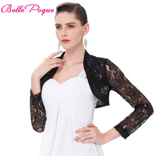 Sexy Black White Lace Bolero Elegant Ladies Shrug Long Sleeve Plus Size S-3XL Wedding Evening Prom Cropped Lace Bolero Shrugs(China)
