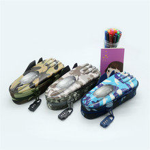 New Creative Camouflage Fighter Modeling Pencil Case With Combination Lock Double Zipper Cute Pencil Box(China)