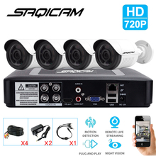 Saqicam HD 720P Home Security Camera System 4PCS HD 1200TVL Outdoor CCTV Weatherproof Cameras 4CH AHD DVR Video Surveillance Kit