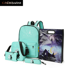 KASHIDINUO Brand 5 Pcs/set Women Backpacks Cute Cat School Bags For Teenage Girls Printing Canvas Backpacks Ladies Shoulder Bags
