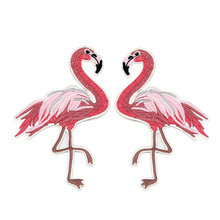 DoreenBeads Pink Flamingo Patches For Clothing Iron On Patches Applique Sticker Backpack Hats Jeans Sewing Accessories 1Pair