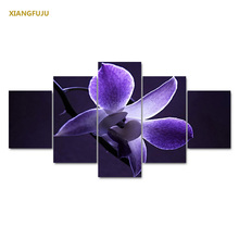 Hot Sale Modern Painting Purple Magnolia Home Decor Canvas Painting Flowers Wall Pictures For Living Room Modular Pictures(China)
