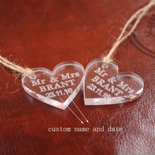 Custom Wedding Tag10pcs lot Mini Favor Tags Acrylic personalized wedding tags crystal place cards 3cm of Heart