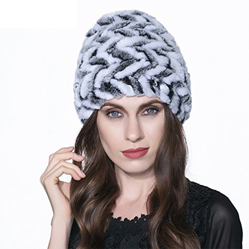 Russian Hot saleReal Rabbit Fur hat for Women Winter Warm Knitted Natural Rabbit Fur hat Genuine Lady Casual Striped Beanie H#14Одежда и ак�е��уары<br><br><br>Aliexpress