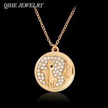 QIHE JEWELRY Gold/Rose Gold Color Starburst Cat And Moon Pendant Necklace Trendy Jewelry Collares For Women