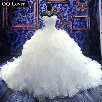 QQ Lover Wedding Dresses Vestido De Noiva Bridal Gowns Sweetheart Custom Made Ball Bead Curto Plus Size Wedding Dress Long Train