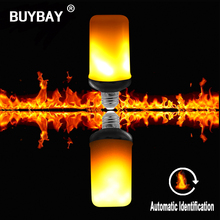 [BUYBAY] Newest E27 E26 LED Flame Effect Fire Light Bulbs 9W Creative Lights Flickering Emulation Lamp 3 modes+Gravity Sensor(China)