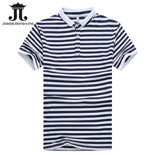 New 2017 summer mens POLO shirt striped lapel short-sleeved slim shirt men turn down casual breathable cotton polo shirt homme