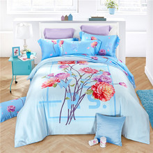Svetanya Soft and Luxury Bedlinen Tencel Bedding Set Queen Full King Size Doona Duvet Cover Sets Flower Print light blue