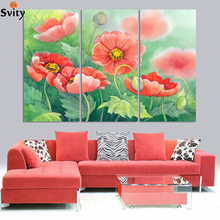 Handmade Picture print On Canvas Abstract Corn poppy flower Oil Painting No Frame Wall Art Group Of Paintings For Room Decor