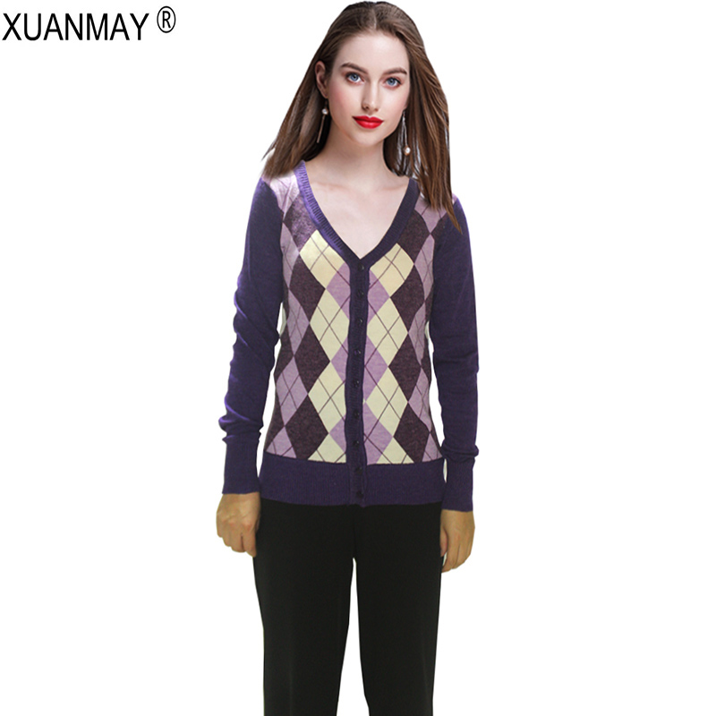 2018 Autumn Ladies Jacquard Plaid Cardigan Sweater Casual Knitted ...