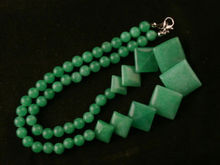 0002959 17 Inches Fine Chinese Green stone Beads Short Necklace(China)
