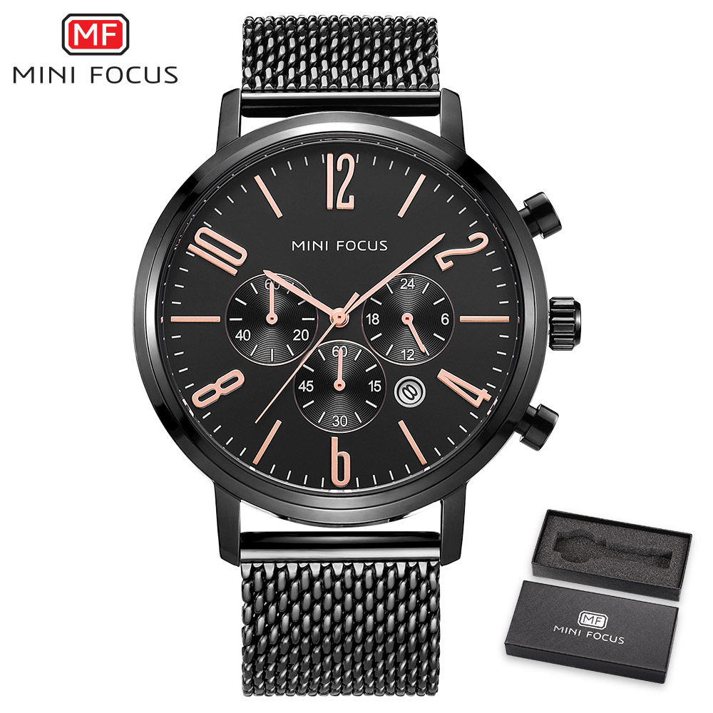 2018 MINIFOCUS Mens Fashion Sport Watches Quartz Analog Date Stainless Steel Men Watch Waterproof Chronograph Relogio Masculino<br>