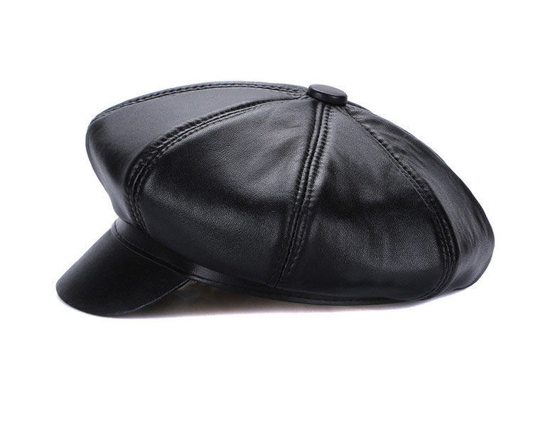 New Winter 100% Leather Beret, Hats for Women, Genuine Leather Berets, Octagonal Hats 13