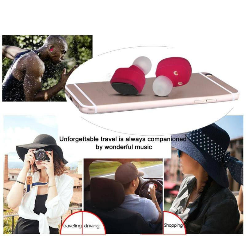 Wireless Bluetooth Headphone Mini Hi-Fi Stereo Sports Rechargeable Earphone IP67 Waterproof Hands-free In-ear Headsets Earbuds