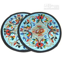 Cheap Party Coaster Sets Gifts Round embroidery Cotton Chinese style home Decoration Crafts set / lot (1set=2pcs) free shipping(China)
