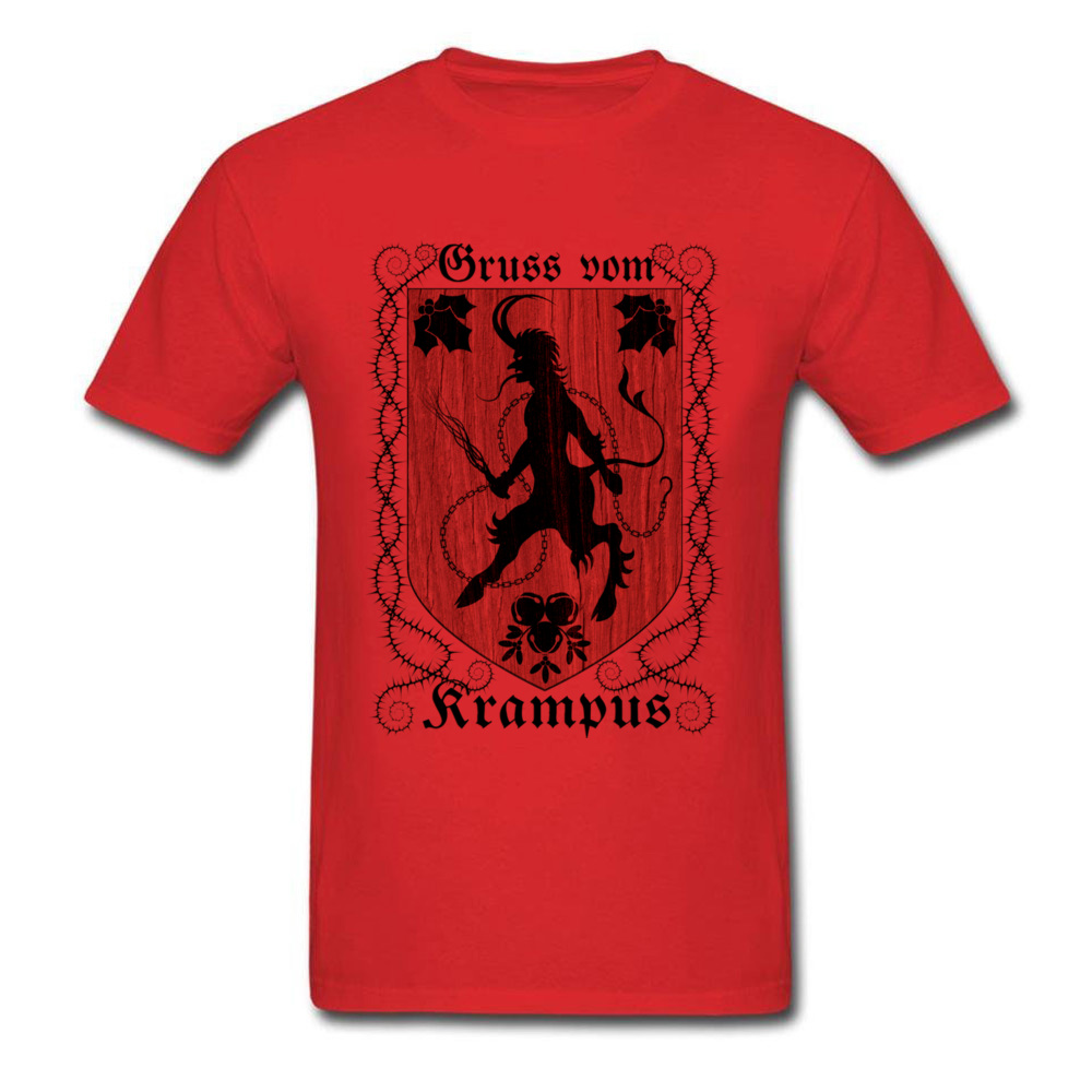 Greetings From Krampus Mens Tshirt Fitted Normal Tops Shirt ostern Day Cotton Fabric Round Collar Tee Shirts Short Sleeve Greetings From Krampus red