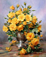 Yellow Rose Framless Picture Home Decor DIY Acrylic Oil Painting By Numbers Wall Art DIY Canvas Oil Painting 40*50cm GX7530(China)
