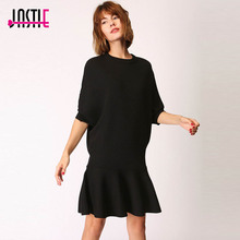 Jastie 2017 Autumn Winter Dress O-Neck Half Sleeve Casual Long Sweater Dress Chic Ruffle Hem Mermaid Women Vestido Mini Dresses