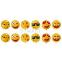 12 Pieces PVC Inflatable Emoji Water Pool Beach Balls Water Play Fun Kids Toy