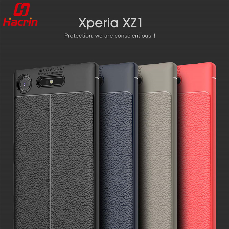 hacrin Luxury Rubber Back Cover Anti-Knock Shell Leather Grained TPU Coque Funda Protective Case Sony Xperia XZ1