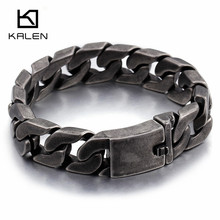 Kalen 2017 Fashion Matte Bike Chain Bracelets For Men 22cm Chunky Heavy Stainless Steel Brushed Link Chain Bracelet Male Jewelry(China)