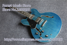 Hot Selling Left Handed Jazz Guitar ES 335 Glossy Blue Finish Maple Hollow Guitar Body Free Shipping