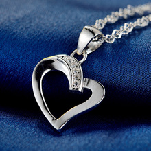 LIAMTING Newest 100% 925 Sterling Silver Heart Pendants Necklace Women Jewelry Wholesale With 5A Cubic Zircon Pendant VA111