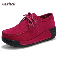Buy VZEHCU Breathable Genuine Leather Flats Shoes Casual Women Lace Loafers Women Flat Platform Shoes Large Size 35-40 p2e14 for $23.39 in AliExpress store