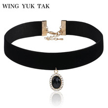 Black Acrylic Gem Pendant Necklace Velvet Chain Inlaid Crystal Choker Necklace For Women Fashion Party Jewelry Factory Wholesale(China)