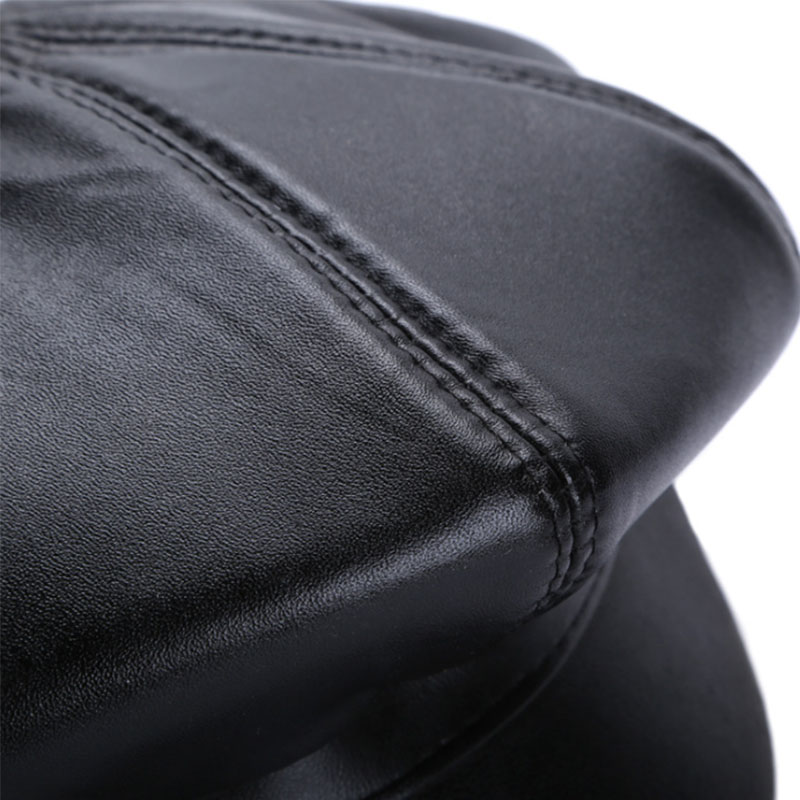 New Winter 100% Leather Beret, Hats for Women, Genuine Leather Berets, Octagonal Hats 23