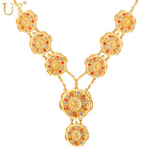 U7 Long Indian Necklace Pendant Trendy Gold Color Party Romantic Round Pendant Necklaces For Women Wedding Wholesale N400(China)