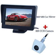 Car Parking system 4.3 inch HD High Brightness Monitor + HD 1/4 color CCD rearview Camera Reverse camera Free Shipping(China)