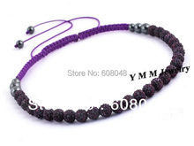 European Style 10mm Crystal Beaded Shamballa Necklace Hematite Woven Necklaces 2pcs Free Shipping