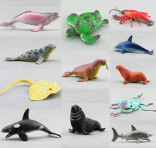 Free Shipping (12 pieces/set) Marine Animal Plastic Model Sharks/Whale/Dolphins/Lobster Sea Life Figures 10-13cm Beach Toy Gifts