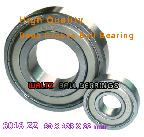 80mm Aperture High Quality Deep Groove Ball Bearing 6016 80x125x22 Ball Bearing Double Shielded With Metal Shields Z/ZZ/2Z<br>