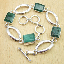 "Exclusive Emeralds Gems Bracelet 8"" ART Jewelry,  Silver Plated Shop The World"