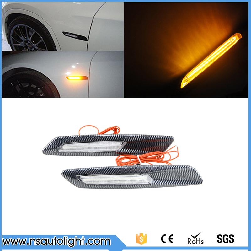 2 pieces F10 style Carbon Trim LED car Side marker light Turn light signal clear For BMW E90 E91 E60 E61 F10 free shipping<br><br>Aliexpress