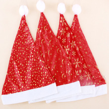 gold velvet hat snowflake star anise 4 stars 38CM mixed hair high quality non-woven festival rave  Santa Claus Christmas hats
