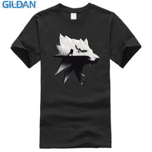 Tees Brand Clothing Funny T Shirt Gildan Short The Witcher 3: Wild Hunt Wolf  Black Crew Neck Christmas Shirt For Men
