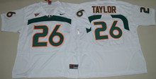 Nike Men's Miami Hurricanes Sean Taylor 26 College Ice Hockey Jerseys - White Size S,M L XL 2XL 3XL(China)